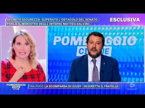 MATTEO SALVINI SU POMERIGGIO CINQUE (CANALE 5, 07.11.2018)