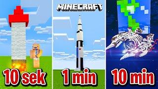 Minecraft BUDUJĘ STATEK KOSMICZNY W 10 SEKUND, 1 MINUTĘ I 10 MINUT!