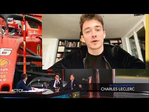 Sebastian Vettel, Charles Leclerc e Mattia Binotto - Che tempo che fa 16/02/2020