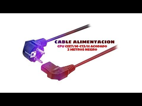Video de Cable de alimentacion CPU CEE7/M-C13/H acodado 2 M Negro
