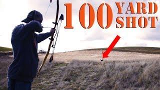 100 Yards! Long Range shooting PRIMITIVE recurve bow