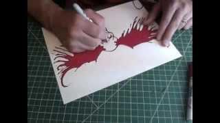 Drawing Blood Splatter Wings on a Skull