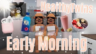 HEALTHY TWINS Early Morning Routine♡ | Roblox Bloxburg | iiarabellaa