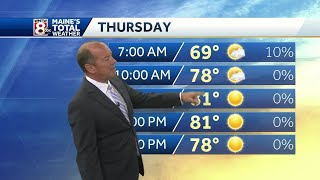 Lots of Sunshine and Less Humid on Thursday