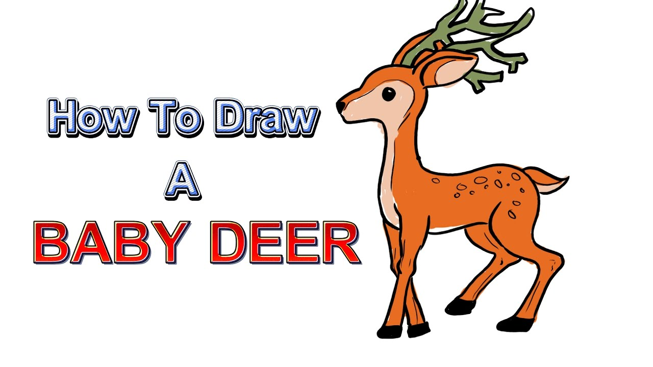 How to draw a deer with a baby
