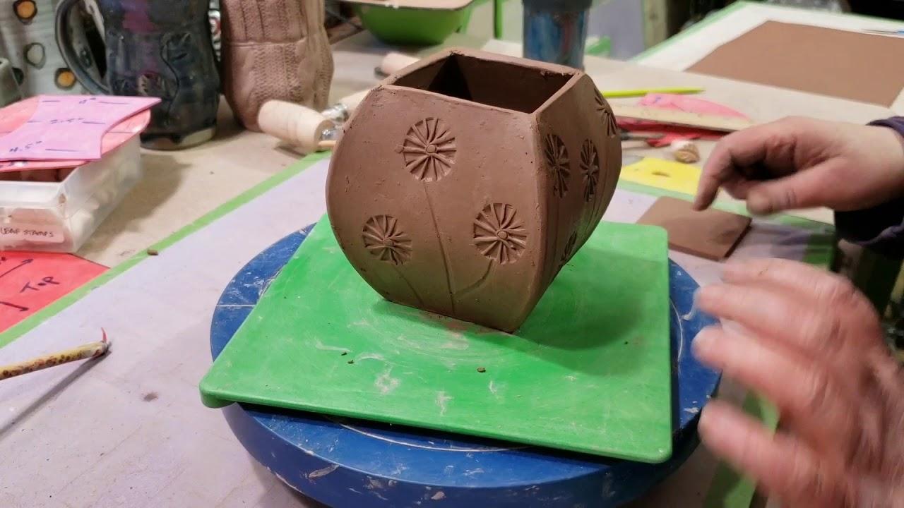 Unique hand build pottery jar.