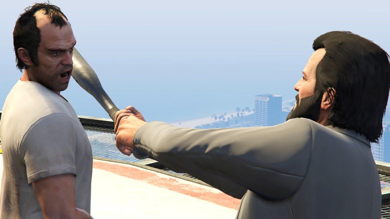 GTA V PC Michael Kills Trevor (Editor Rockstar Movie Cinematic Short Film)