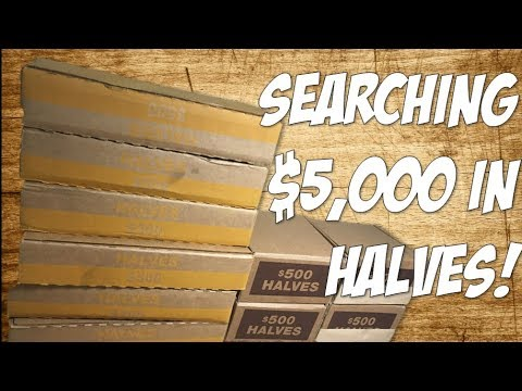 SEARCHING $5000 IN HALF DOLLARS! LARGEST COIN ROLL HUNT YET (10,000 HALVES)!!
