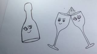 How to Draw the Cute Champagne Bottle Glasses