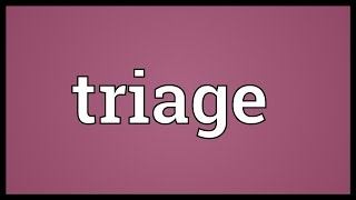 Triage meaning