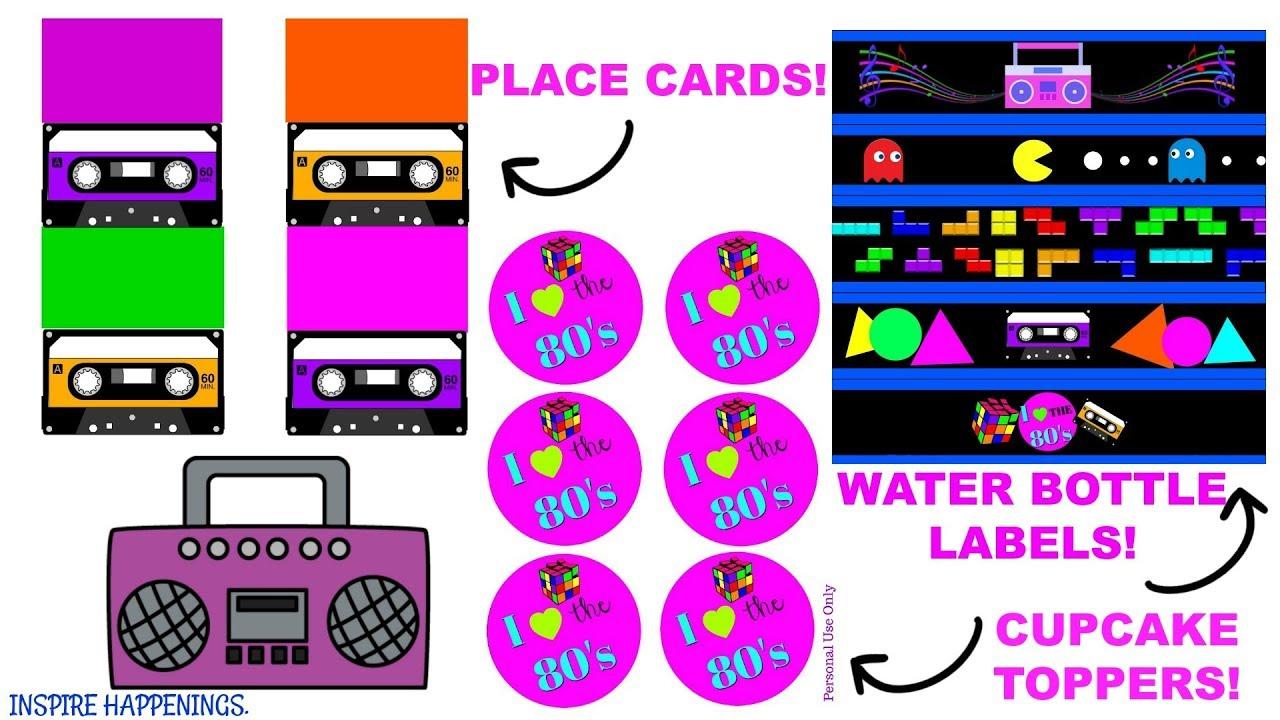80 S Party Part 2 Free Printables Inspire Happenings Youtube