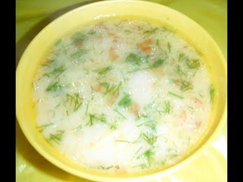 Сырный суп с копчёной колбасой