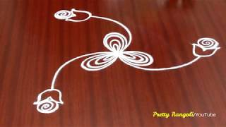 How to draw Attractive peacock rangoli freehand\\new kolam\Peacock muggu #655