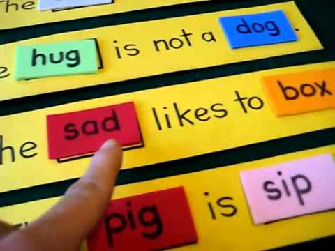 Preschool - Reading game: Add phonetic words to blanks and make into silly sentences.