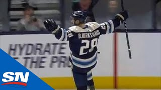 Oliver Bjorkstrand Fights Off Dmitry Kulikov And Then Sneaks Goal By Laurent Brossoit