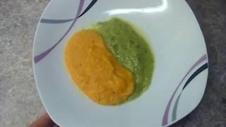Детское питание. Пюре из кабачка с рыбой и морковь с макаронами.