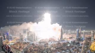 Dubai Burj Khalifa New Year 2016 fireworks celebration timelapse and the Fire accident at Dubai, UAE