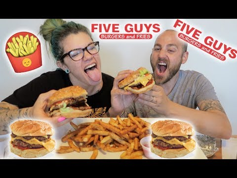 FIVE GUYS MUKBANG!! VIRTUAL COLLAB W/ ANNA MARIE MUKBANG!! 먹방