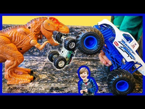 Monster Trucks and Dinosaurs Attack Toy Trucks for Kids