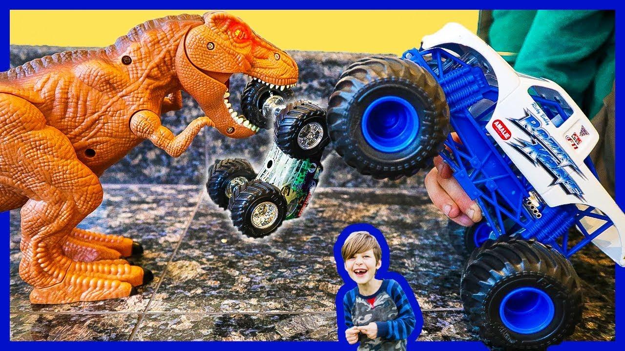 Monster Trucks And Dinosaurs Attack Toy Trucks Youtube