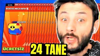 24 TANE BEDAVA MEGA KUTU AÇTIM😯 Brawl Stars