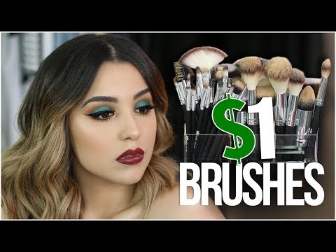 FULL FACE TESTING $1 MAKEUP BRUSHES! | HIT OR MISS?!