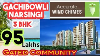 3  BHK FLATS FOR SALE 95  LAKHS IN NARSINGI  GACHIBOWLI HYDERABAD.