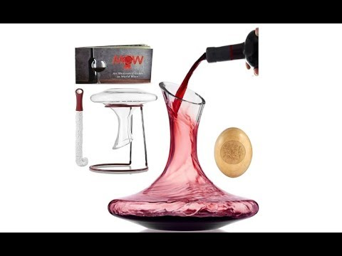 Mixologist World Wine Decanter Aerator Set - with Wood Stopper etc