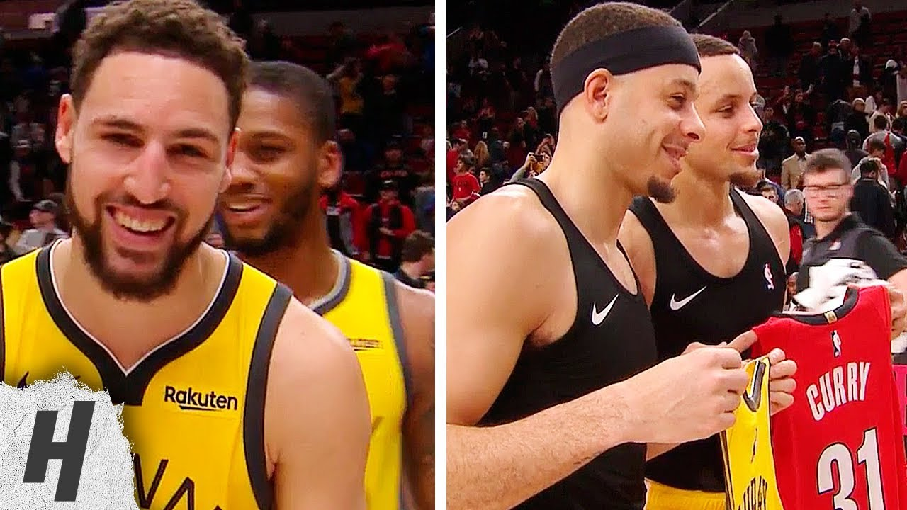 62a6a1624dd Stephen Curry & Seth Curry Exchange Jerseys During Klay Thompson's  Interview   December 29, 2018
