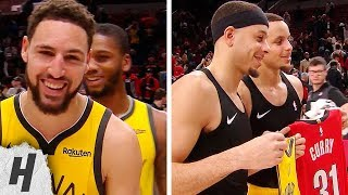Stephen Curry & Seth Curry Exchange Jerseys During Klay Thompson's Interview | December 29, 2018