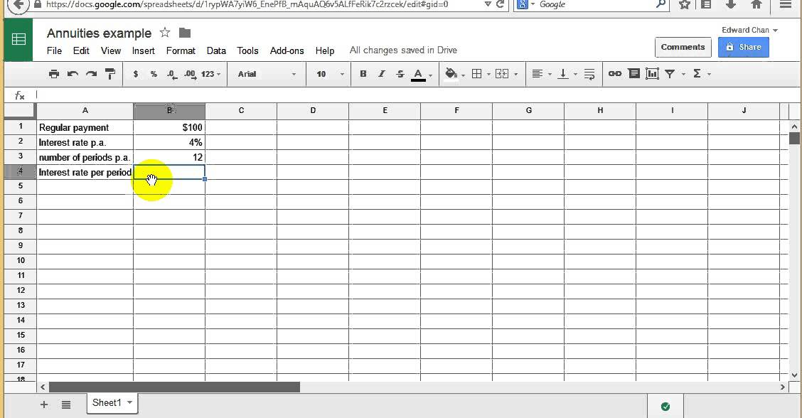 Annuities Lesson 1 Using A Spreadsheet To Simulate The Growth Of