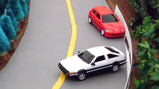 Initial D toy cars stop-motion 3 - Takumi vs Shingo Duct tape death match