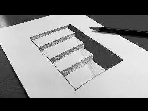 تعلم كيف ترسم سلم ثلاثي الأبعاد بطريقة سهلة