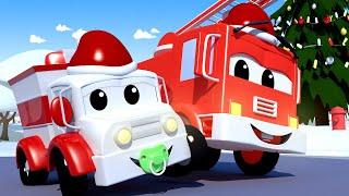 儿童卡车动画— 唱圣诞歌 -汽车城的宝贝们