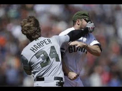Washington Nationals vs San Francisco Giants | Bryce Harper vs Hunter Strickland Fight