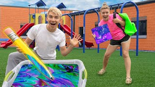 BEST DIY HYDRO DIPPED BACK TO SCHOOL SUPPLIES ART WINS $10,000!! (Sharer Fam Challenge)