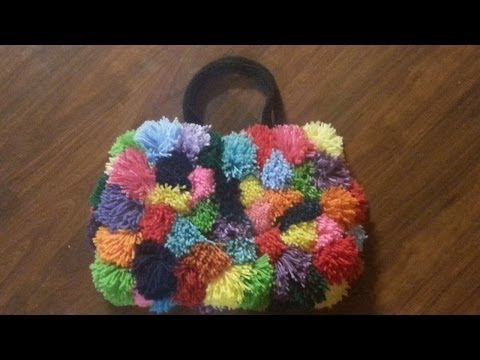 CROCHET How To #crochet this Super Colorful Pom Pom purse Tutorial #15 LEARN CROCHET