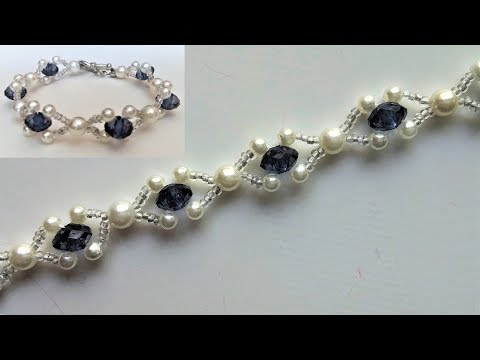 Beaded wedding jewelry pattern. How to make an elegant bracelet (necklace)