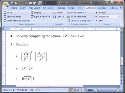 Using MathType with the Windows 7 Math Input Panel