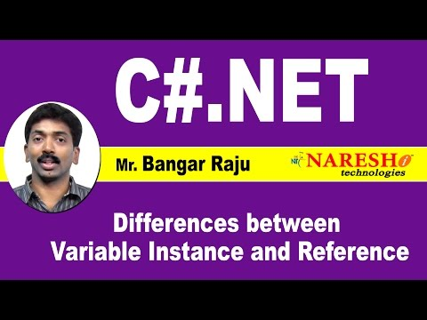Differences between Variable Instance and Reference | C#.NET Tutorial | Mr. Bangar Raju