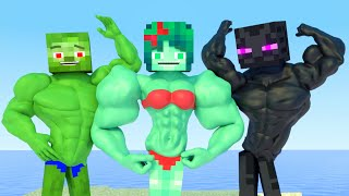 Top all Minecraft Life of Muscles & love Zomma ZomBo | muscular girls and boy | Minecraft Animation