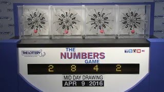 Midday Numbers Game Drawing: Saturday, April 9, 2016