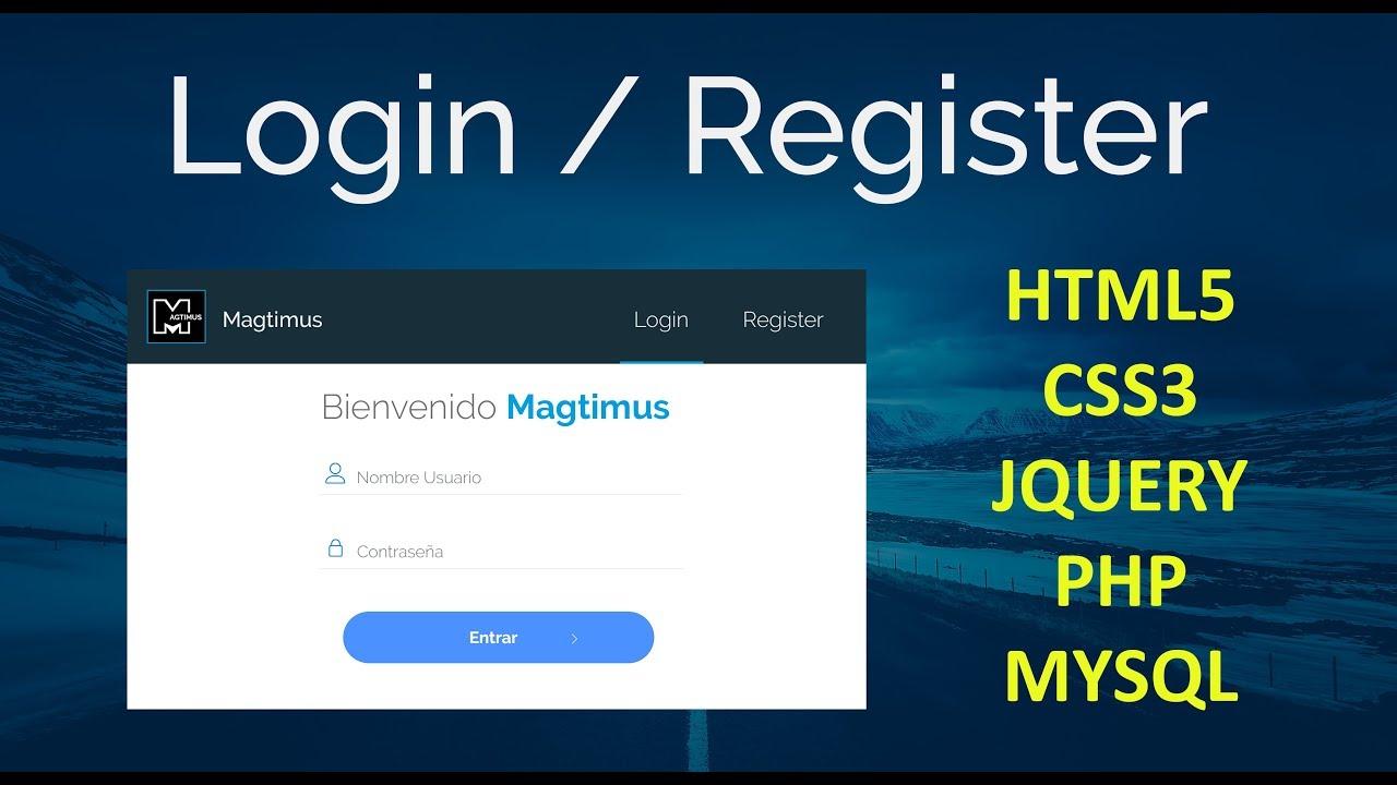 como hacer un sistema de login con php, mysql, jquery & css - youtube  youtube
