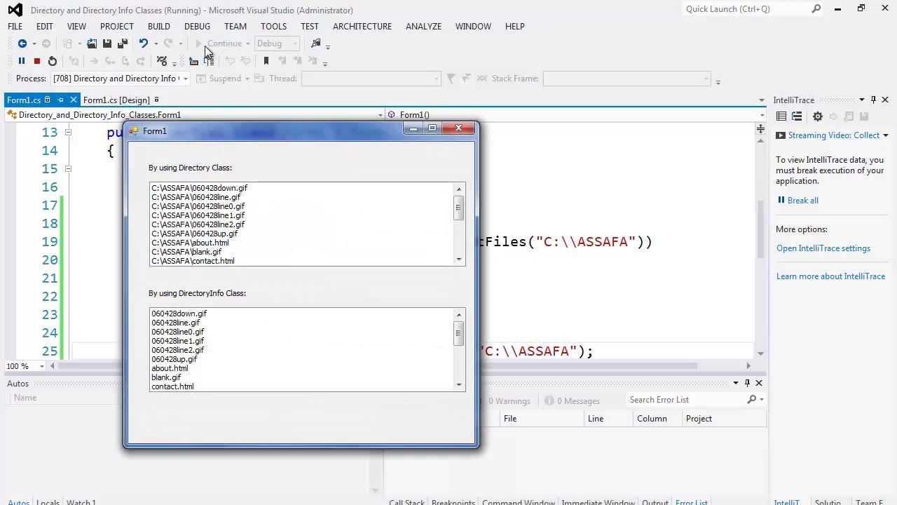 73. التعامل مع الملفات - الملفات باستعمال الفئات  Directory and DirectoryInfo