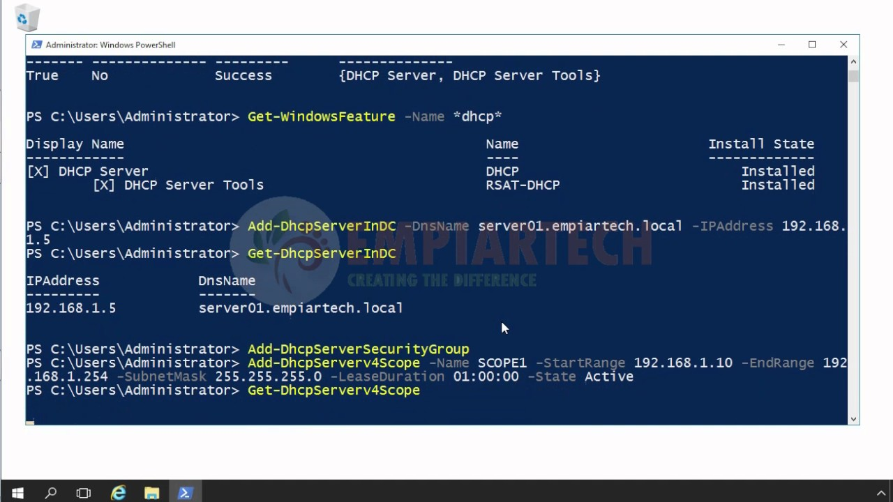 Install and Configure DHCP using powershell in Windows Server 2016