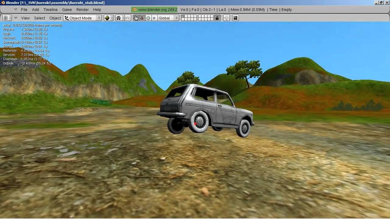 BUERAKI bullet constraint vehicles in blender game engine
