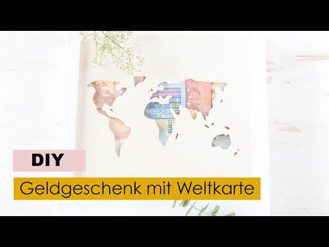 Diy Geldgeschenk Zur Hochzeit Basteln Weltkarte Aus Holz
