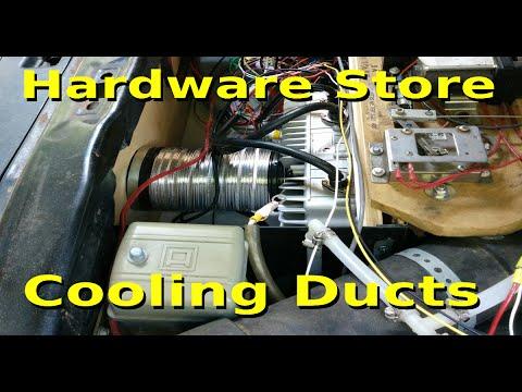 Inexpensive cooling ducts with hardware store parts for my EV Chargers