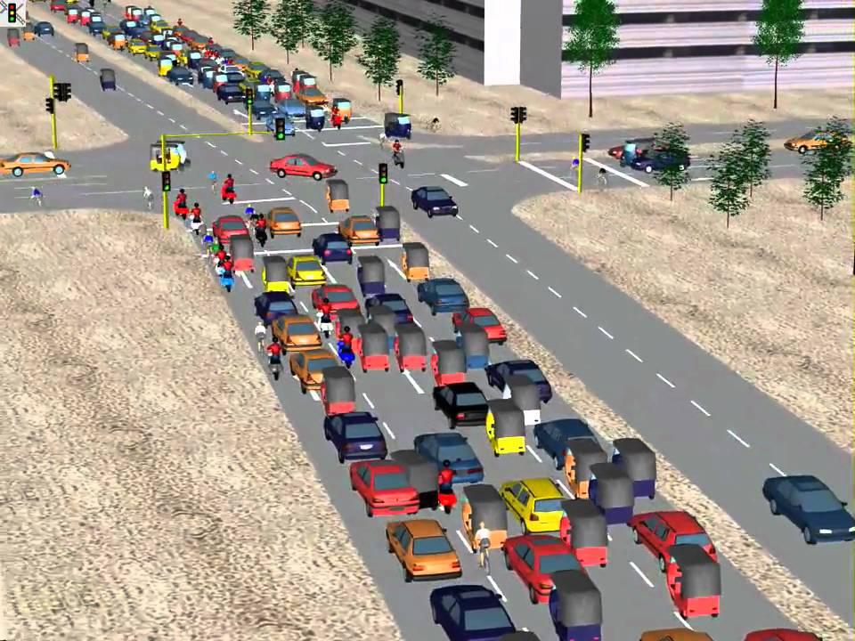 PTV Vissim: Simulation of Non-Lane-Based Traffic