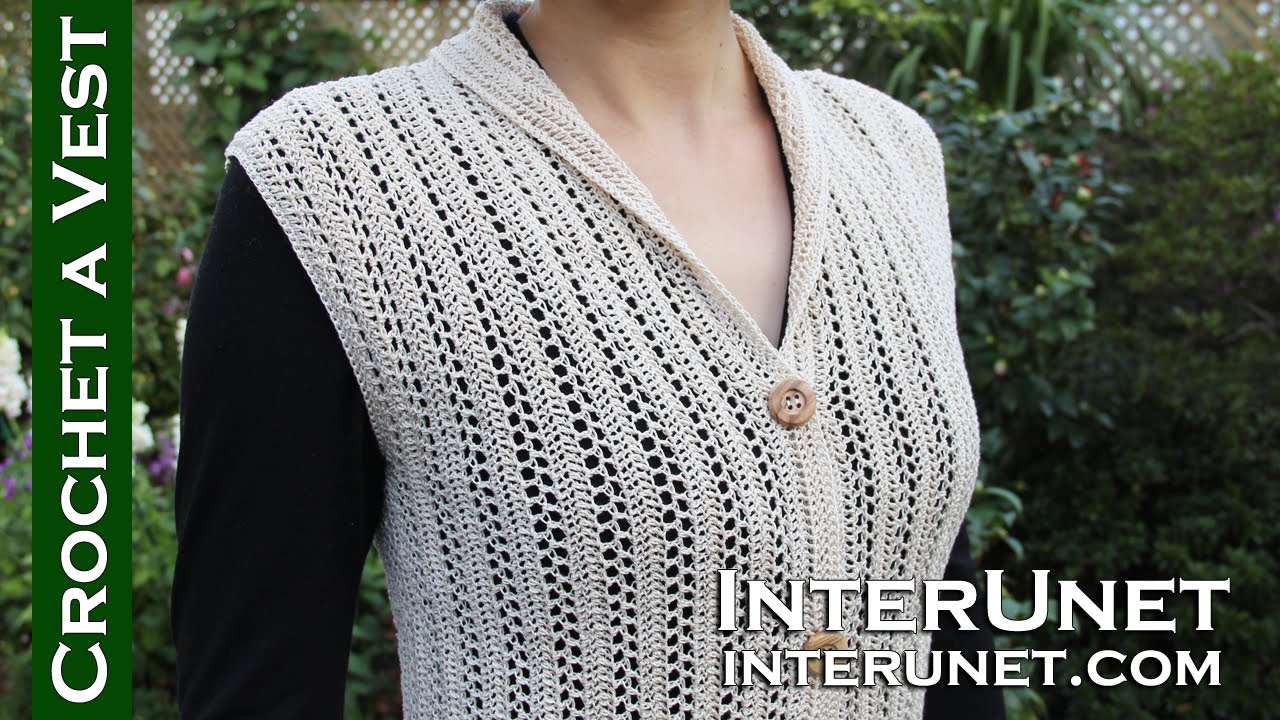 Crochet a collared cardigan vest lace jacket - ear of wheat stitch ...